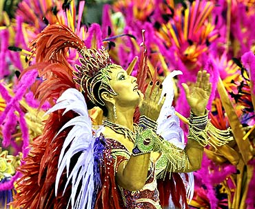Drum Queen Luiza Brunet of the Imperatriz Leopoldinense samba school participates in the annual Carnival parade in Rio de Janeiro's Sambadrome