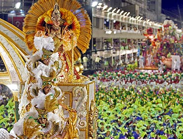 Revellers of the Imperatriz Leopoldinense samba school participate in the annual Carnival parade in Rio de Janeiro's Sambadrome