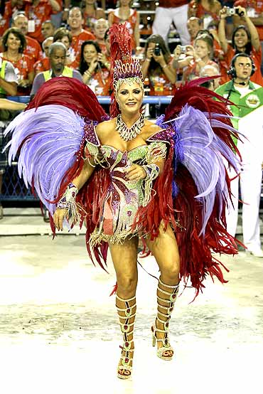 Drum Queen Luiza Brunet of the Imperatriz Leopoldinense samba school participates in the annual Carnival parade