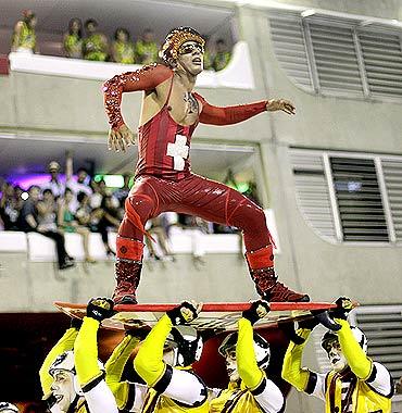 The annual carnival parade in Rio de Janeiro's Sambadrome