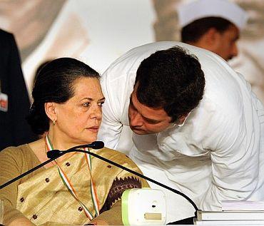 Congress President Sonia Gandhi with her son Rahul Gandhi