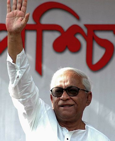 West Bengal CM Buddhadeb Bhattacharjee speaks at a poll rally in Kolkata