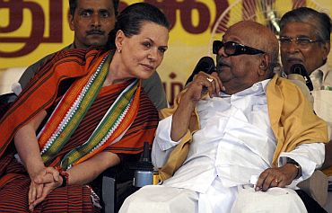 Congress chief Sonia Gandhi with Tamil Nadu CM M Karunanidhi at a function in Chennai