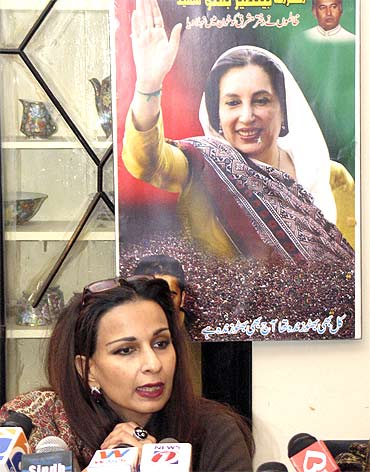 Pakistan Peoples Party leader Sherry Rehman talks to media about former Pakistan PM Benazir Bhutto