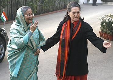 Bangladesh's Prime Minister Sheikh Hasina with Sonia Gandhi