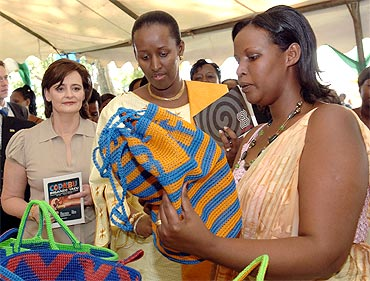 Jeannette Kagame, First Lady of Rwanda and Cherie Blair, wife of former UK Prime Minister Tony Blair visit the Rwanda Women Exhibition
