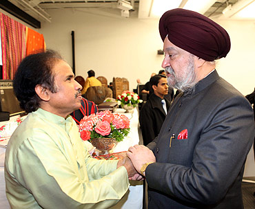 Hardeep Singh Puri, India's envoy to the UN greets L Subramaniam