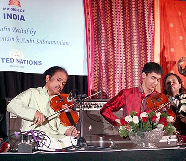 Violin maestros L Subramaniam and Ambi Subramaniam perform at UN headquarters