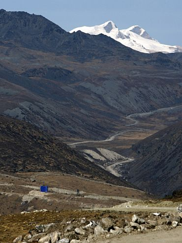 A general view of last Chinese army post seen from the Indian side at Indo-China border in Bumla, Arunachal Pradesh