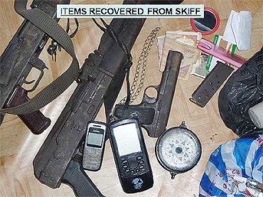 File photo of arms seized from pirates by the Indian Navy