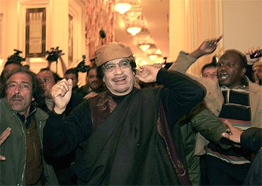 Libya's leader Muammar Gaddafi at a hotel in Tripoli