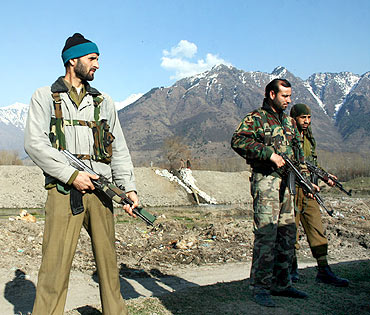 Security personnel at the encounter site near Srinagar's famed Dal Lake