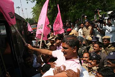 TRS leader Harish Rao being arrested