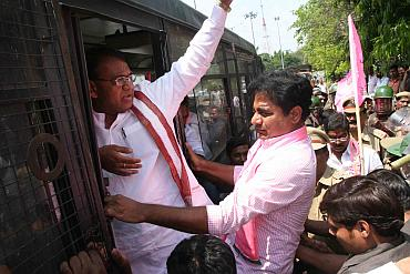 TRs leaders being arrested by the police