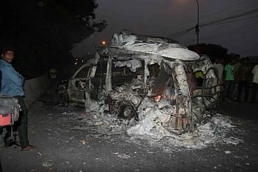 The charred remains of a TV channel's OB van in Hyderabad