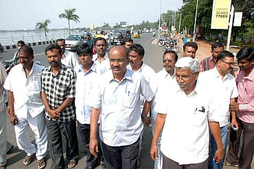 TJAC members inspect the location of the Million March in Hyderabad on Wednesday