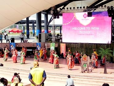 Dancers perform at the CWG venue