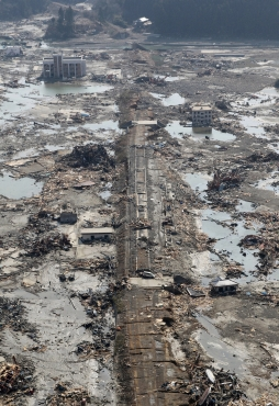 The remnants of train tracks are seen after a magnitude 8.9 earthquake and tsunami struck the area of Minamisanriku, Miyagi Prefecture in northern Japan