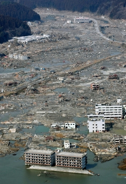 A swath of destruction caused by a tsunami is pictured in northern Japan