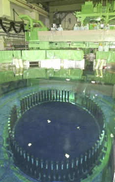 The inside of reactor No. 4 is seen at the Fukushima Daiichi nuclear plant in Fukushima Prefecture, northeastern Japan