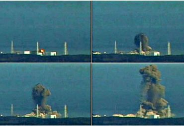 Video grabs show the reactor 1 of the Fukushima plant blowing up