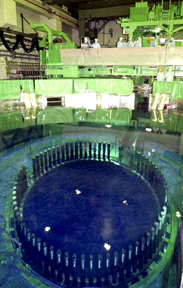 The inside of reactor No 4 is seen at the Fukushima Daiichi nuclear plant