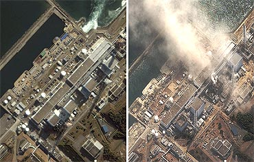 A combination of handout satellite images show the Fukushima Daiichi nuclear plant on November 21, 2004 (left) and on March 14, 2011 (right) as the No.3 nuclear reactor is burning after a blast following an earthquake and tsunami