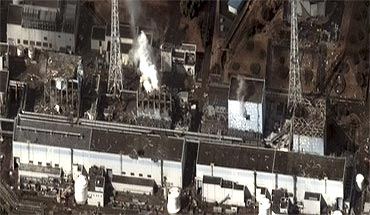 Damage after an earthquake and tsunami at Fukushima Daiichi nuclear plant is seen in this satellite image