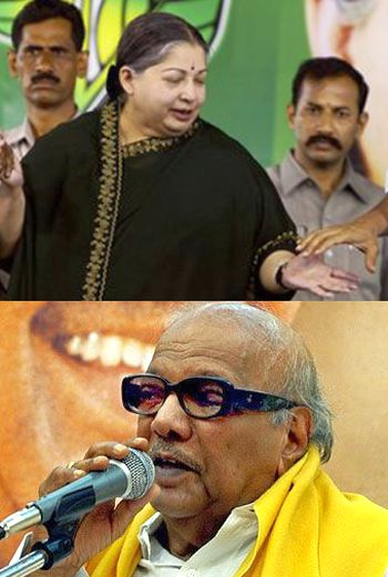 AIADMK chief Jayalalitha. (Below) DMK chief M Karunanidhi