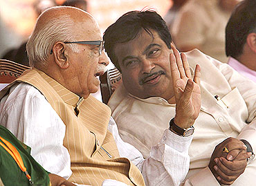 Senior BJP leader L K Advani with party president Nitin Gadkari