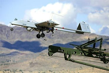 An unarmed US 'Shadow' drone is launched in this undated photograph