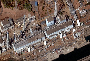 Reactors No. 1 to 4 are seen at the Fukushima Daiichi Power Plant in Fukushima is seen in this satellite image