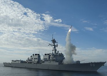 File photograph of guided-missile destroyer USS Preble (DDG 88) conducting an operational tomahawk missile launch