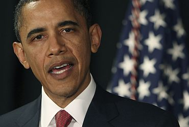 US President Barack Obama announces limited American military operations against Libya, in Brasilia