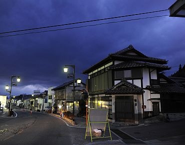 A view of empty streets in a neighbourhood in Tamura