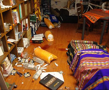 The Bhatt residence after the quake struck off Japan