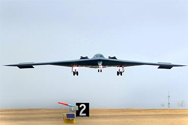 A B-2 Spirit bomber returns to home base after an airstrike on Libya