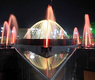 The fountains light up during the night