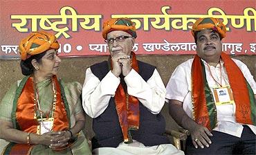 Bharatiya Janata Party leaders Sushma Swaraj, LK Advani and Nitin Gadkari