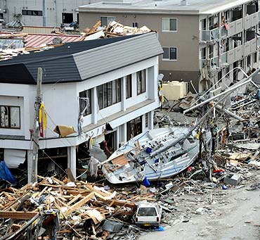 A sailboat in the debris in Ofunato, Japan