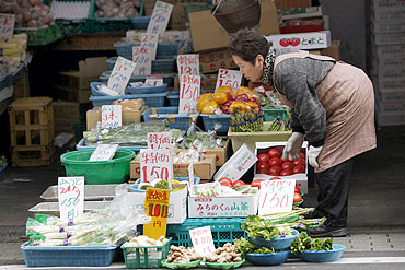 A vendor looks at vegetables at a greengrocery in Tokyo