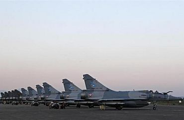 French Mirage 2000 fighter jets at the military air base of Solenzara, on the Mediterranean island of Corsica, where France runs its military operation against Libya