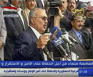 Yemeni President Ali Abdullah Saleh speaks to his supporters in Sanaa in this videograb