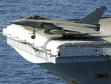 A French fighter jet aboard the Charles de Gaulle aircraft carrier