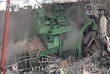 A handout from Japan Ground Self-Defence Force shows no. 4 reactor at Fukushima Daiichi Nuclear Power Plant