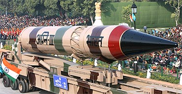 Agni III missile is seen during the full dress rehearsal for the Republic Day parade in New Delhi