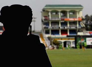 A policeman keeps vigil at the Mohali stadium