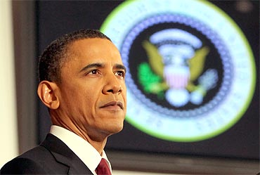 US President Barack Obama speaks about US military action in Libya on Monday in Washington, DC