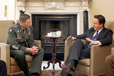 Commander of the NATO International Security Assistance Force and US Forces in Afghanistan General David Petraeus has a meeting with British PM David Cameron on March 22