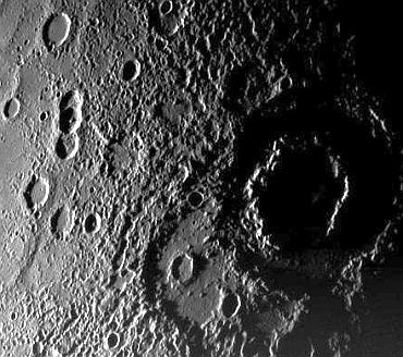 A view of the planet Mercury's rugged, cratered landscape in an image from the Messenger Spacecraft